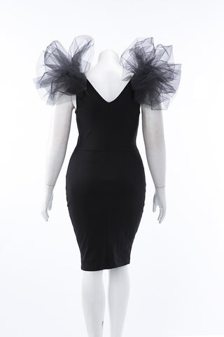Pus Size V Neck Tulle Puff Sleeve Bodycon Dress - Black