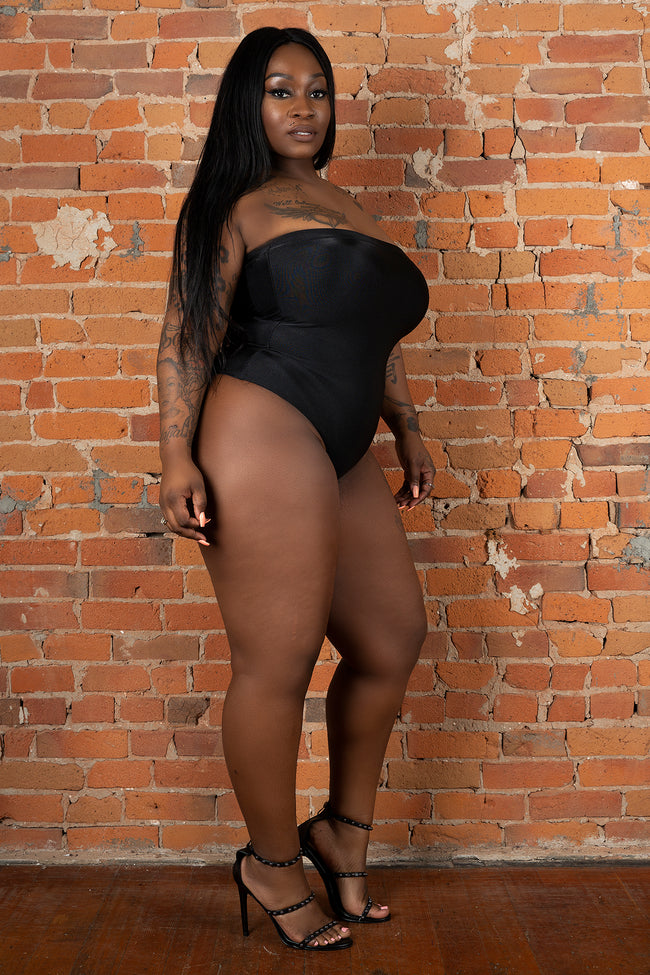 Plus Size Tube Slinky Bodysuit - Black