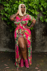 "Plus Size ""Ivy League"" Floral Maxi Dress Romper - Fuchsia"