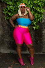 "Plus Size ""Last Chance"" High Waist Shiny Biker Shorts - Hot PinK"