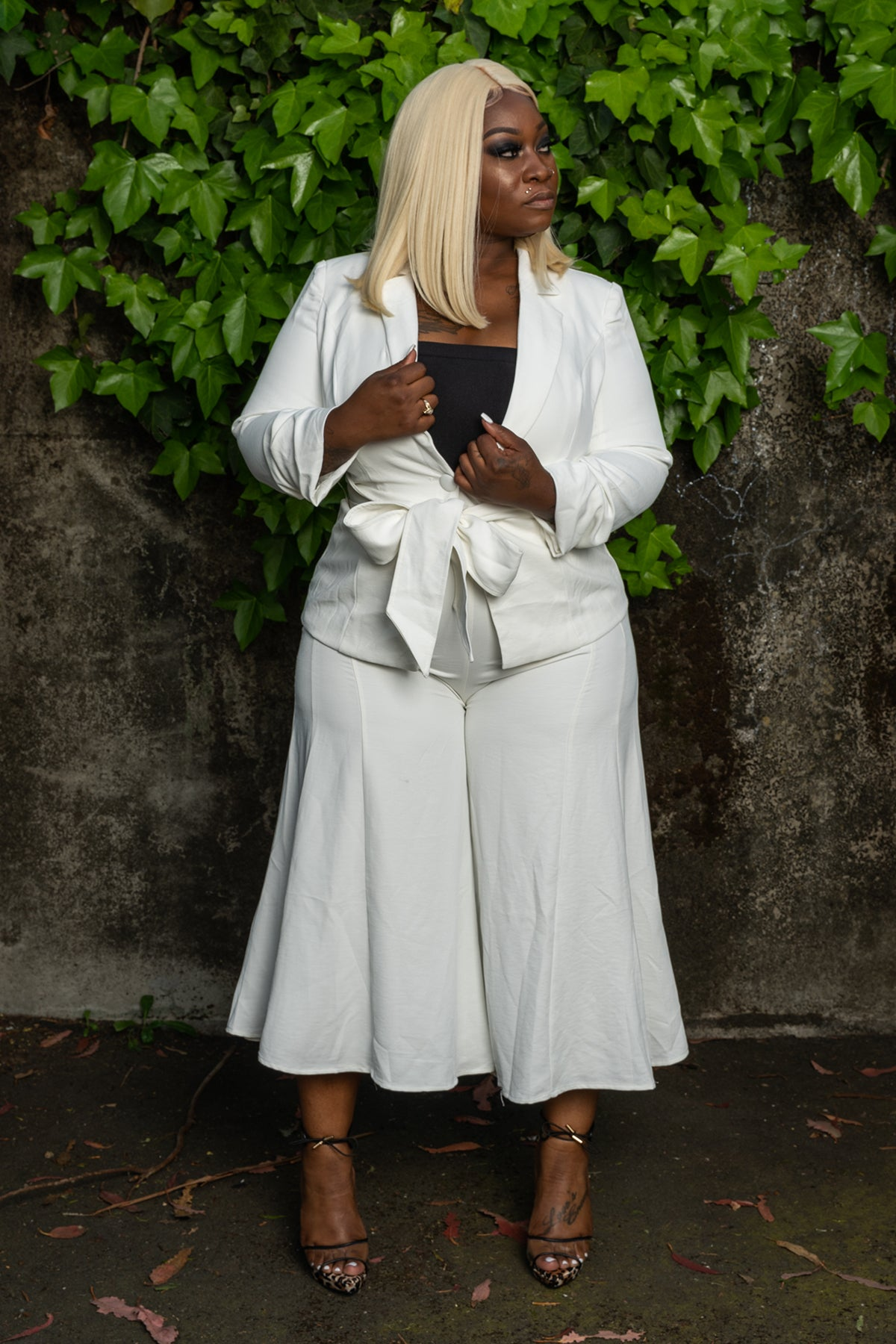 """Plus Size """"She Knows Her Worth"""" Linen Pant Suit - White ..."""