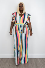 "Plus Size ""Pink Runway"" Wide Leg Jumpsuit - White Stripe"