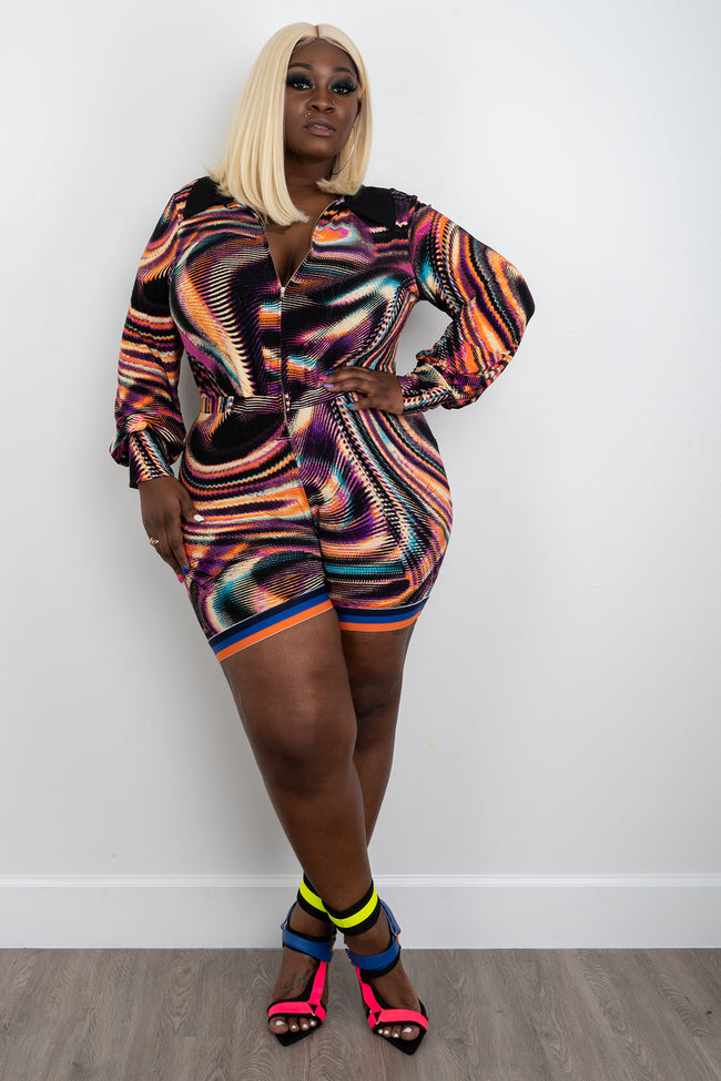 "Plus Size ""Cool Vibes""  Romper - Multi Blue Orange"