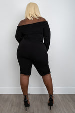 "Plus Size ""Circulate""  Off Shoulder Knee Length Jumpsuit - Black"