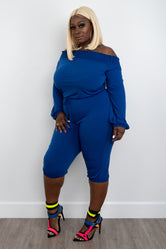 "Plus Size ""Circulate""  Off Shoulder Knee Length Jumpsuit - Blue"