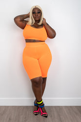 "Plus Size ""Ring Leader"" 2 Piece Biker Set - Orange"