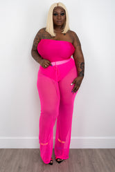 "Plus Size ""Speechless"" Mesh Sheer High Waist Wide Leg Pant - Hot Neon Pink"