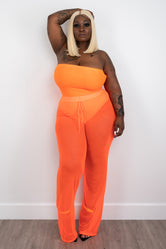 "Plus Size ""Speechless"" Mesh Sheer High Waist Wide Leg Pant -  Neon Orange"