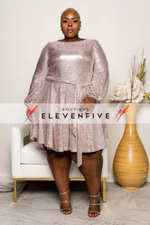 "Plus Size ""Break Me Off"" Shimmery  Babydoll Dress - Champagne"