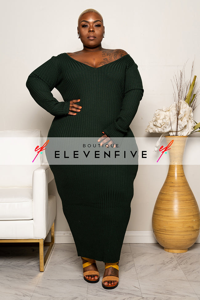 "Plus Size ""Vickie"" V Neck Ribbed Sweater Maxi Dress - Hunter Green"