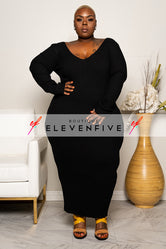 "Plus Size ""Vickie"" V Neck Ribbed Sweater Maxi Dress - Black"