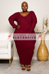 "Plus Size ""Vickie"" V Neck Ribbed Sweater Maxi Dress - Burgundy Wine"