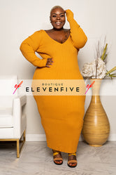 "Plus Size ""Vickie"" V Neck Ribbed Sweater Maxi Dress - Mustard"