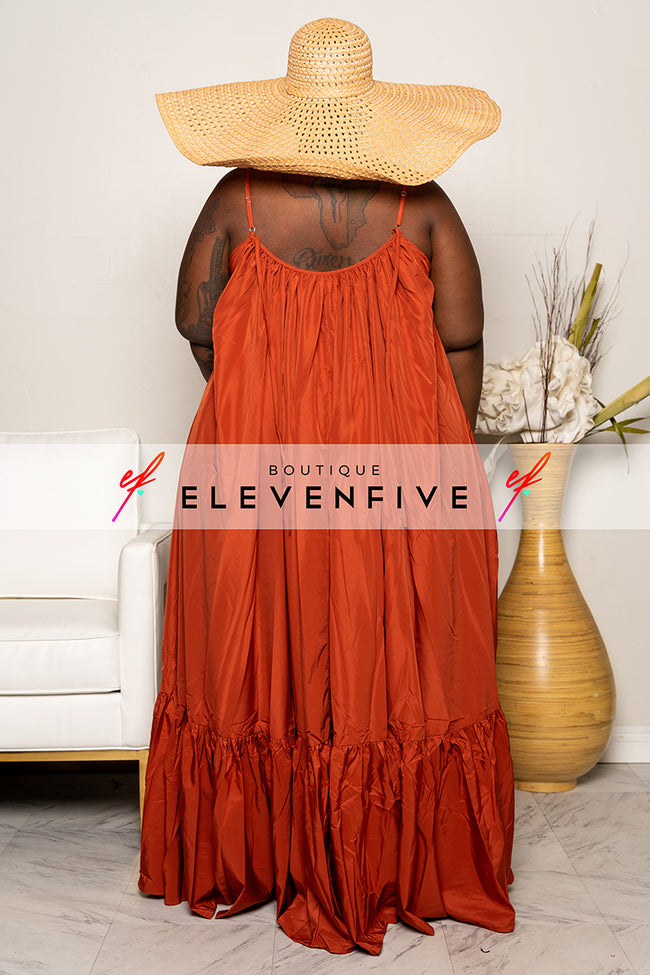 "Plus Size ""Overflow"" Maxi Dress - Rust"