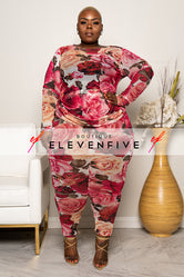 "Plus Size ""Hips and Roses"" Mesh Set - Pink Red"