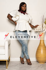 "Plus Size ""Sophisticated Lady"" Peplum Top - Ivory"