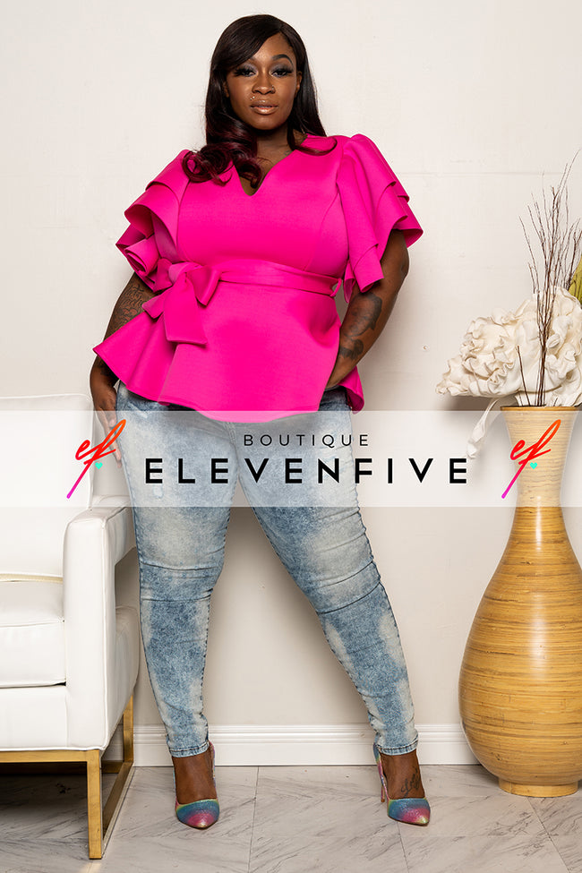 "Plus Size ""Sophisticated Lady"" Peplum Top - Fuchsia"