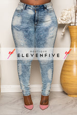 "Plus Size ""Washed Away"" Acid Wash Destroyed Denim Jeans - Blue 1102"