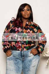 "Plus Size ""Scrabble"" Sequin Letters Jacket - Multi Black"