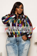 "Plus Size ""Colorful Rain"" Sequin Jacket - Multi Black"