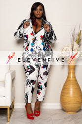 "Plus Size ""Picture Perfect"" Print Pant Suit Set - White Black Multi"