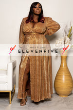 "Plus Size ""Ring The Alarm"" Maxi Gown Dress - Gold"
