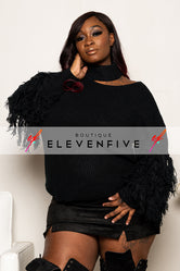 "Plus Size ""Nina"" Tassel Sleeve Sweater - Black"