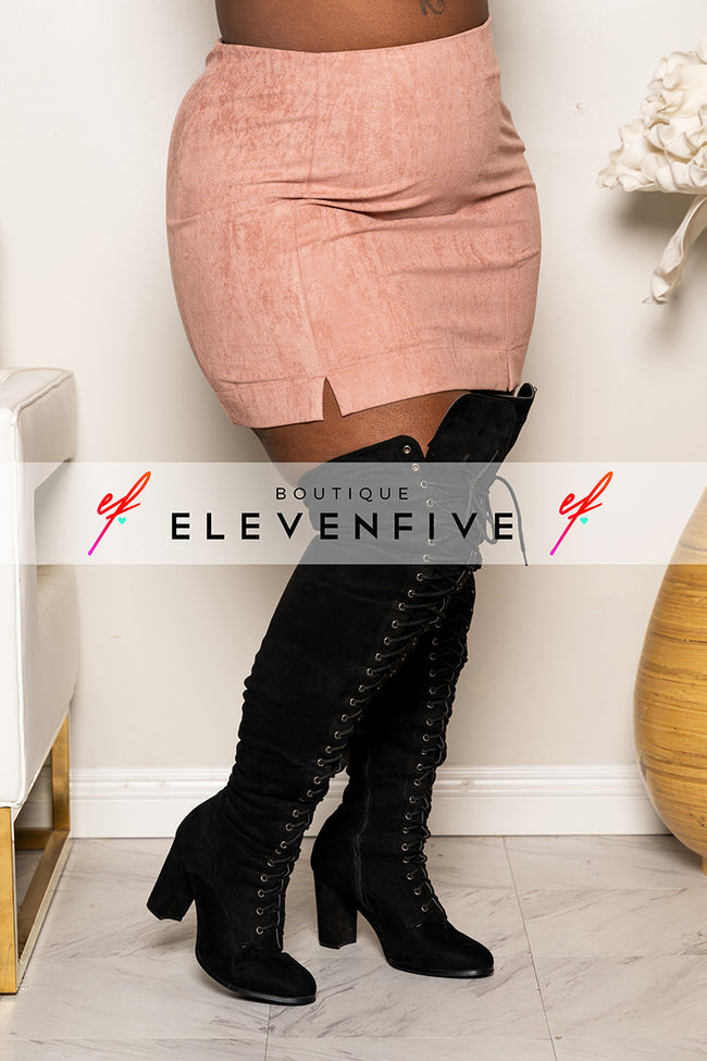 "Plus Size ""Penny"" Vegan Suede Mini Skirt - Mauve"