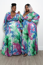 """Peace of Art"" Long Sleeve Chiffon Maxi Dress - Multi Blue Purple Green"