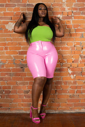 "Plus Size ""Muy Caliente II"" Liquid Leather Vinyl Bermuda Short - Pink"