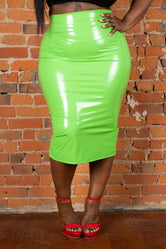 "Plus Size ""Yummy"" Liquid Leather Shiny Patent Skirt - Green"