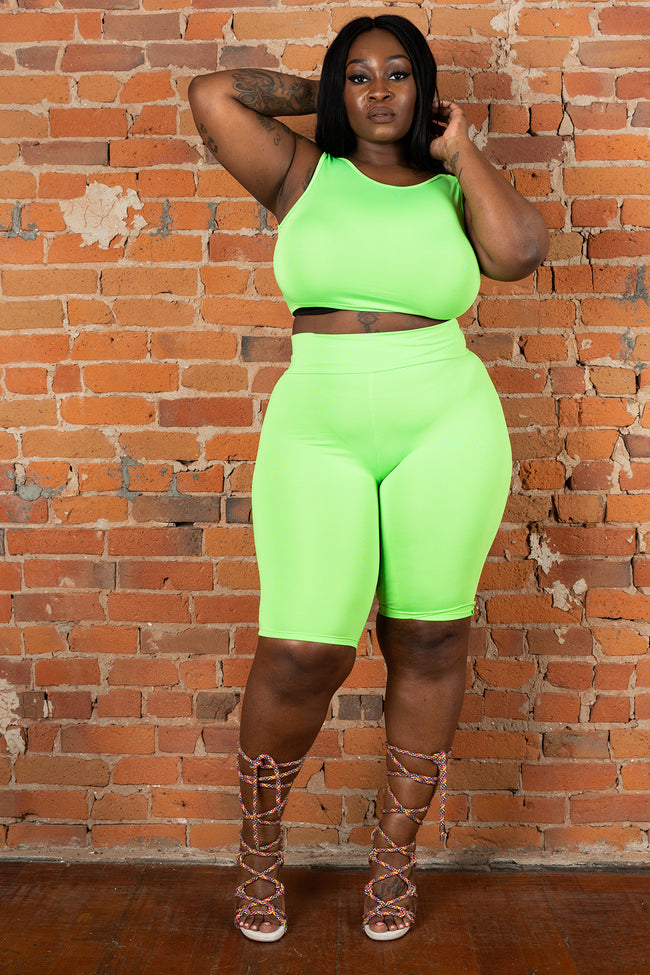 "Plus Size ""Ring Leader"" 2 Piece Biker Set - Neon Green"