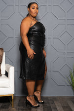 "Plus Size ""Resist Temptation"" Vegan Leather Pearl Dress - Black"