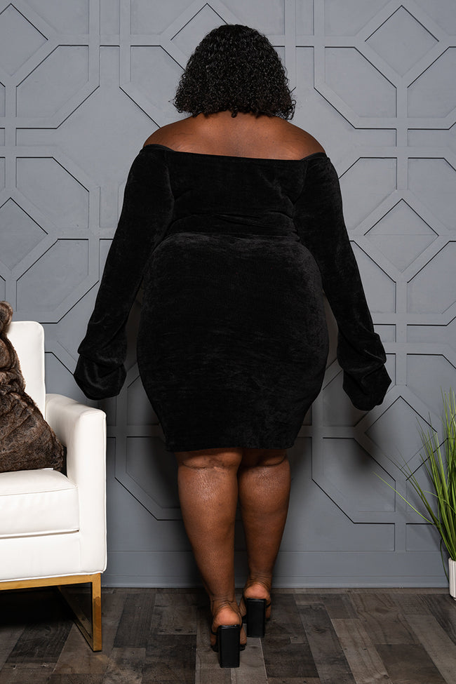"Plus Size ""Am I Dreamin"" Drawstring Off Shoulder Dress - Black"
