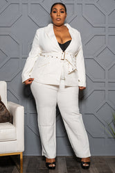 "Plus Size ""Suits Me Just Fine"" Pant Suit - White ivory"