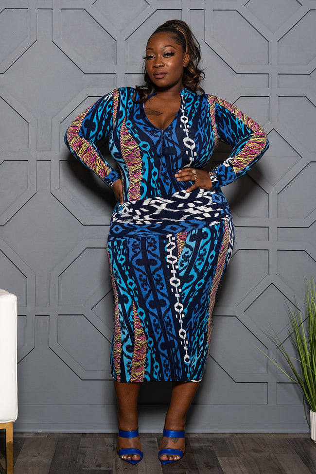 "Plus Size ""Road to Curves"" Midi Dress - Blue Multi"