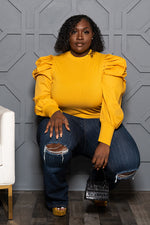 "Plus Size ""Zara"" Puff Sleeve Top - Mustard"