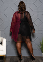 "Plus Size ""The Other Side of the Game"" Mesh Dress - Burgundy Black"