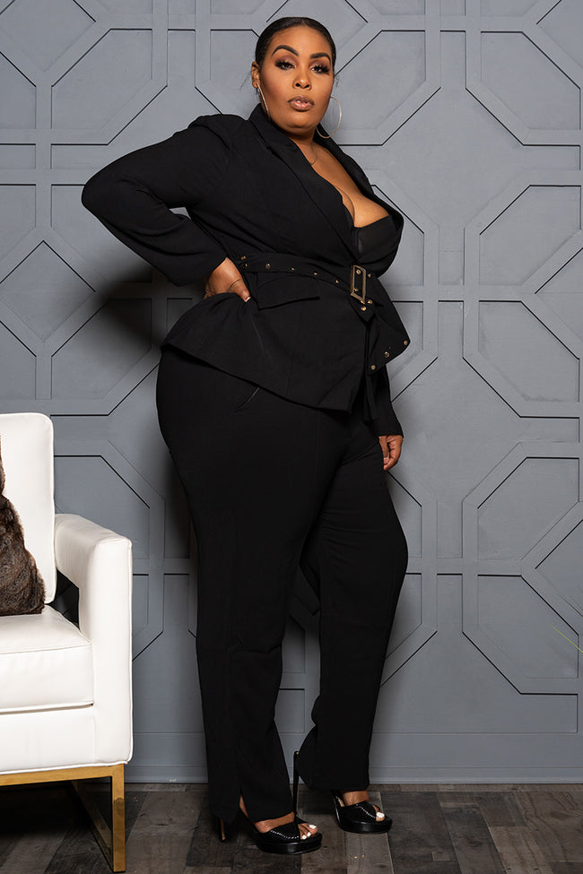 "Plus Size ""Suits Me Just Fine"" Pant Suit - Black"