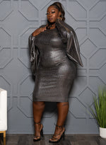 "Plus Size ""Kryptonite"" Bubble Sleeve Bodycon Dress - Metallic Siver"
