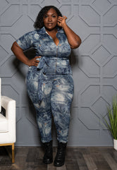 "Plus Size ""Tameka"" Denim Print Jumpsuit - Blue"