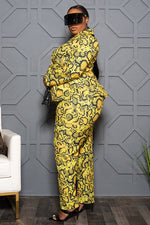 "Plus Size ""Venom"" Snakeskin Suit - Yellow"