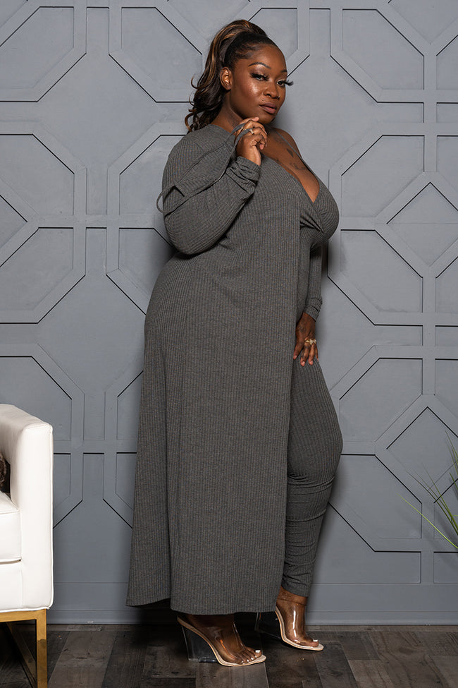 "Plus Size ""Go With the Flow"" Duster Set - Charcoal"