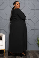"Plus Size ""Go With the Flow"" Duster Set - Black"