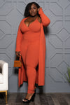 "Plus Size ""Go With the Flow"" Duster Set - Brick"