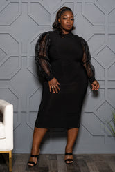 "Plus Size ""Save the Best"" Puff Sleeve Dress - Black"