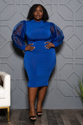 "Plus Size ""Save the Best"" Puff Sleeve Dress - Royal Blue"