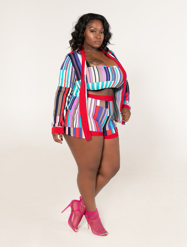 "Plus Size ""Beauty of The Day"" 3 Piece Crop Bandeau Short Set - Red Multi - Boutique115"