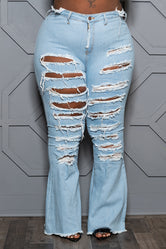 """Torn"" Ripped Bell Bottom Jeans - Light Denim Blue"