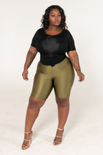 "Plus Size ""Last Chance"" High Waist Shiny Biker Shorts - Black - Boutique115"